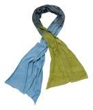 Blauer Schal auf weißem Hintergrund Stockfotos