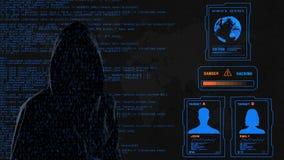 Blauer Schirm des Hackers stock footage