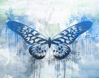 Blauer Schmetterling auf abstraktem Hintergrund Lizenzfreies Stockbild