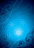 Blauer Schneeflockehintergrund Stockbild