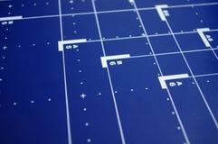 Blauer Schreibtischhintergrund Stockfotografie