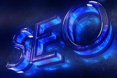 Blauer SEO-Hintergrund stockfoto