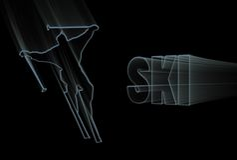 Blauer Ski Lizenzfreies Stockbild