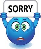 Blauer smiley entschuldigt sich Stockfotos