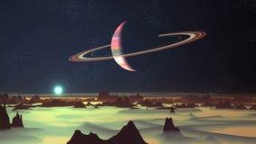 Blauer Sonnenaufgang und Planet umgeben durch Ringe stock abbildung