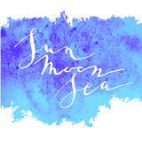Blauer Sonnenmond des Kalligraphieaquarells lizenzfreie abbildung