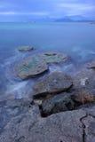 Blauer Sonnenuntergang über dem Schwarzen Meer Stockbild