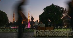Blauer Sonnenuntergang Moscheen-Istanbuls die Türkei in der Dämmerung stock footage