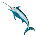 Blauer Speerfisch auf Weiß lizenzfreie abbildung