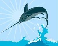 Blauer Speerfisch, der vom Meer springt stock abbildung
