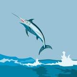 Blauer Speerfisch, der vom Meer springt Lizenzfreie Stockfotos