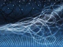 Blauer Squiggles-Hintergrund zeigt sternenklaren Himmel und Gitter Lizenzfreies Stockbild