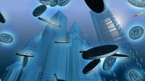 Blauer Stadt 3D wireframe Hintergrund mit dem Geld, das in Front fällt stock abbildung