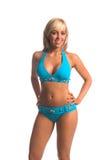 Blauer Stein-Bikini-Blondine Lizenzfreie Stockbilder