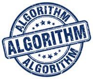 blauer Stempel des Algorithmus lizenzfreie abbildung