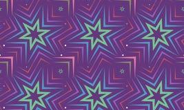 Blauer Stern auf violettem Hintergrunddesign Nahtloses Muster Vektor Stockbild