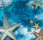 Blauer Stern-Kunst-Feiertags-Hintergrund Stockbilder