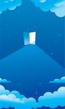 Blauer sternenklarer nächtlicher Himmel und eine Tür stockfoto