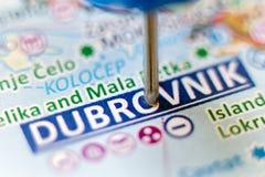 Blauer Stift, der Dubrovnik zeigt stockfoto