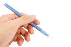 Blauer Stift lokalisiert auf weißem Hintergrund Stockbild