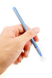 Blauer Stift lokalisiert auf weißem Hintergrund Lizenzfreie Stockfotografie