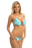 Blauer Streifen-Bikini-Blondine stockbilder