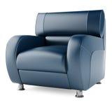 blauer Stuhl 3D auf einem weißen Hintergrund stockfotografie