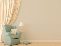 Blauer Stuhl durch die Trennvorhänge Stockbild
