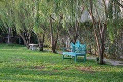 Blauer Stuhl im Garten Lizenzfreies Stockbild