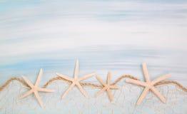 Blauer Türkishintergrund mit Starfishes oder Oberteilen Stockfotos