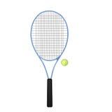 Blauer Tennisschläger mit Kugel Lizenzfreie Stockfotos
