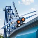 Blauer Tornado im Gardaland-Vergnügungspark Stockfotos