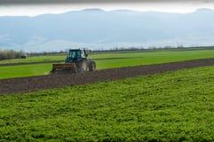 Blauer Traktor ausgerüstet mit der Egge, die an dem Feld arbeitet Stockbilder