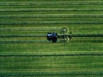 Blauer Traktor, der grünes Feld, Vogelperspektive mäht Lizenzfreie Stockfotografie