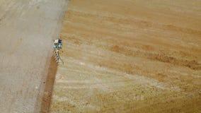 Blauer Traktor mit vier Ploughshares, die trockenes fruchtbares Landbraun kultivieren Das Konzept der Landwirtschaft Das ausgezei stock video