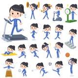 Blauer Trikotsport u. -übung des Schulmädchens lizenzfreie abbildung