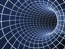 Blauer Tunnel des Auszuges 3d von einem Rasterfeld Lizenzfreies Stockbild