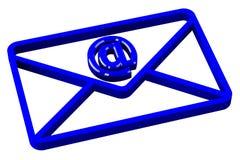 Blauer Umschlag mit Zeichen-E-Mail Stockbild