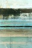 Blauer und beige abstrakter Art Painting Stockbild