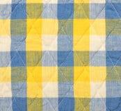 Blauer und gelber Plaidhintergrund Lizenzfreies Stockbild