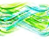 Blauer und grüner linearer Zeichnungshintergrund mit Lichtern Stockfotografie