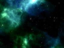 Blauer und grüner Nebelfleck mit den Sternen, die durch Raum im Kosmos glänzen Lizenzfreies Stockbild