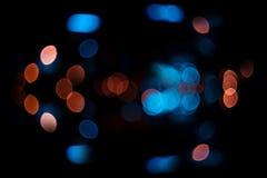 Blauer und orange bokeh Farbzusammenfassungshintergrund Lizenzfreies Stockbild
