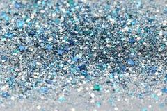Blauer und silberner gefrorener Schnee-Winter-funkelnder Stern-Funkelnhintergrund Feiertag, Weihnachten, Zusammenfassungsbeschaff stockbilder