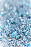 Blauer und silberner gefrorener Schnee-Winter-funkelnder Stern-Funkelnhintergrund Feiertag, Weihnachten, Zusammenfassungsbeschaff lizenzfreie stockfotos