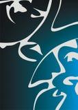 Blauer und weißer Auszug Stockbild