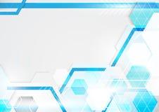 Blauer und weißer Hintergrund der abstrakten Technologie Modernes geometrisches Stockfoto