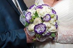 Blauer und weißer Hochzeitsblumenstrauß Stockfoto