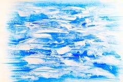 Blauer und weißer horizontaler gemalter Beschaffenheitshintergrund Stockbilder