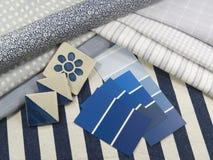 Blauer und weißer Innenausführungsplan Stockbilder